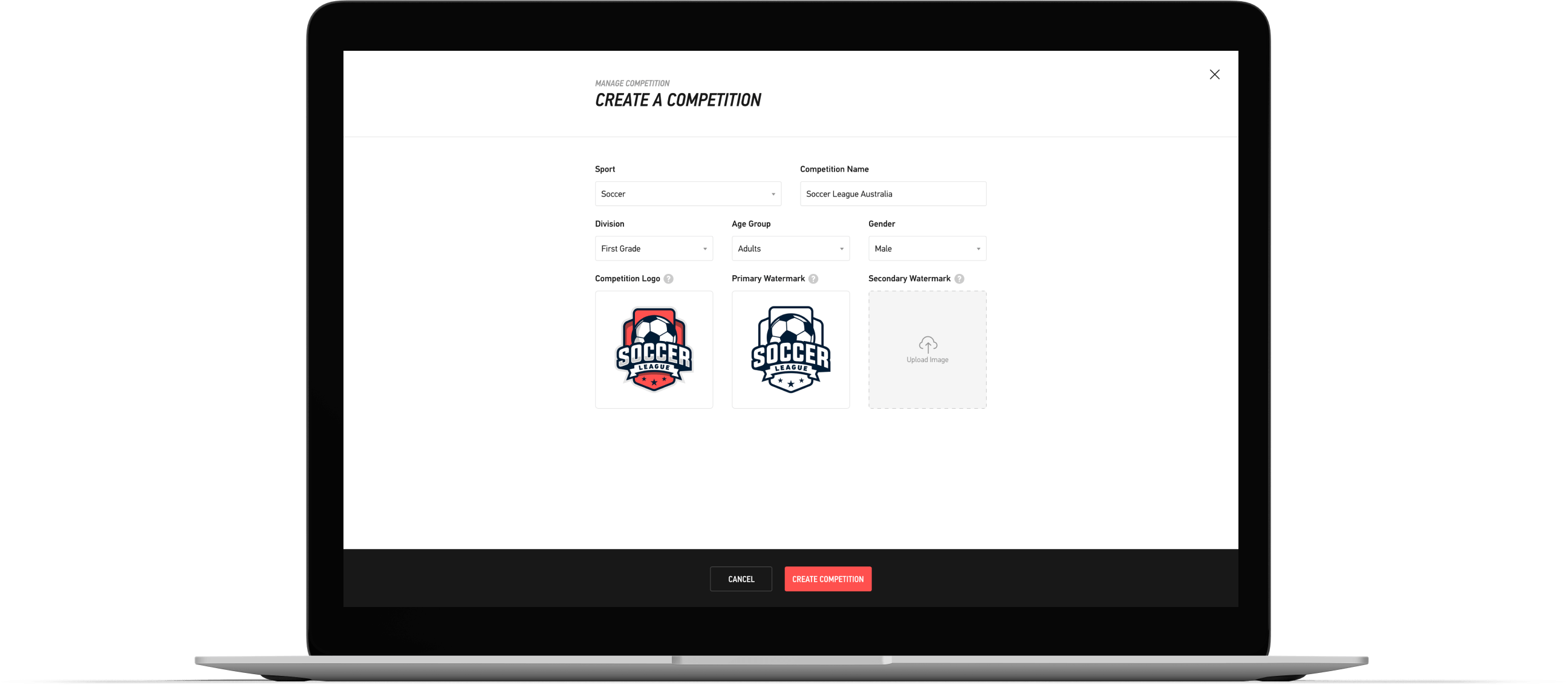 The create your competition user interface in the LIGR.Live Dashboard.