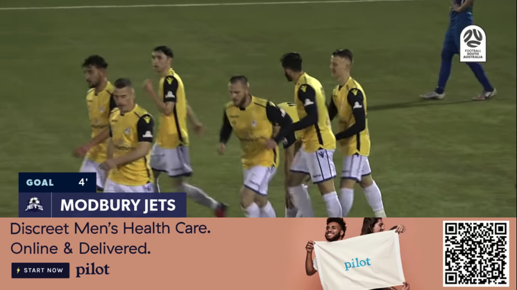 An ad for men's health brand, Pilot, shown immediately after a goal for NPL south team the Modbury Jets. Powered by LIGR.Live.