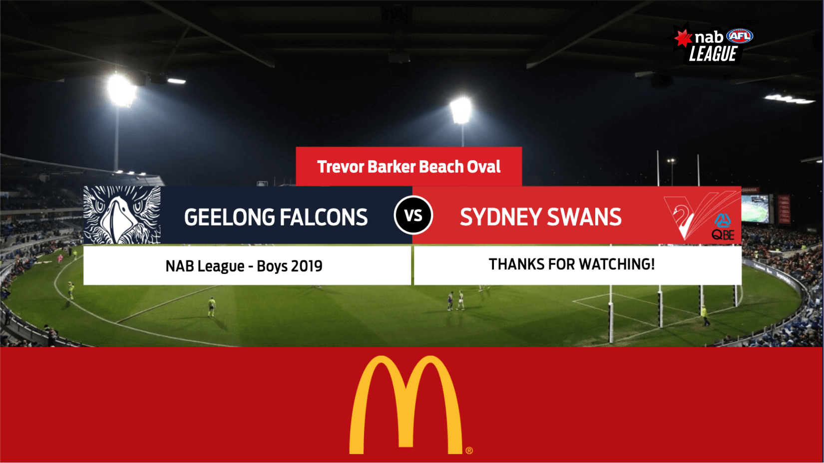 A McDonald's ad shown during an under-19 Australian rules football livestream broadcast. Powered by LIGR.Live.