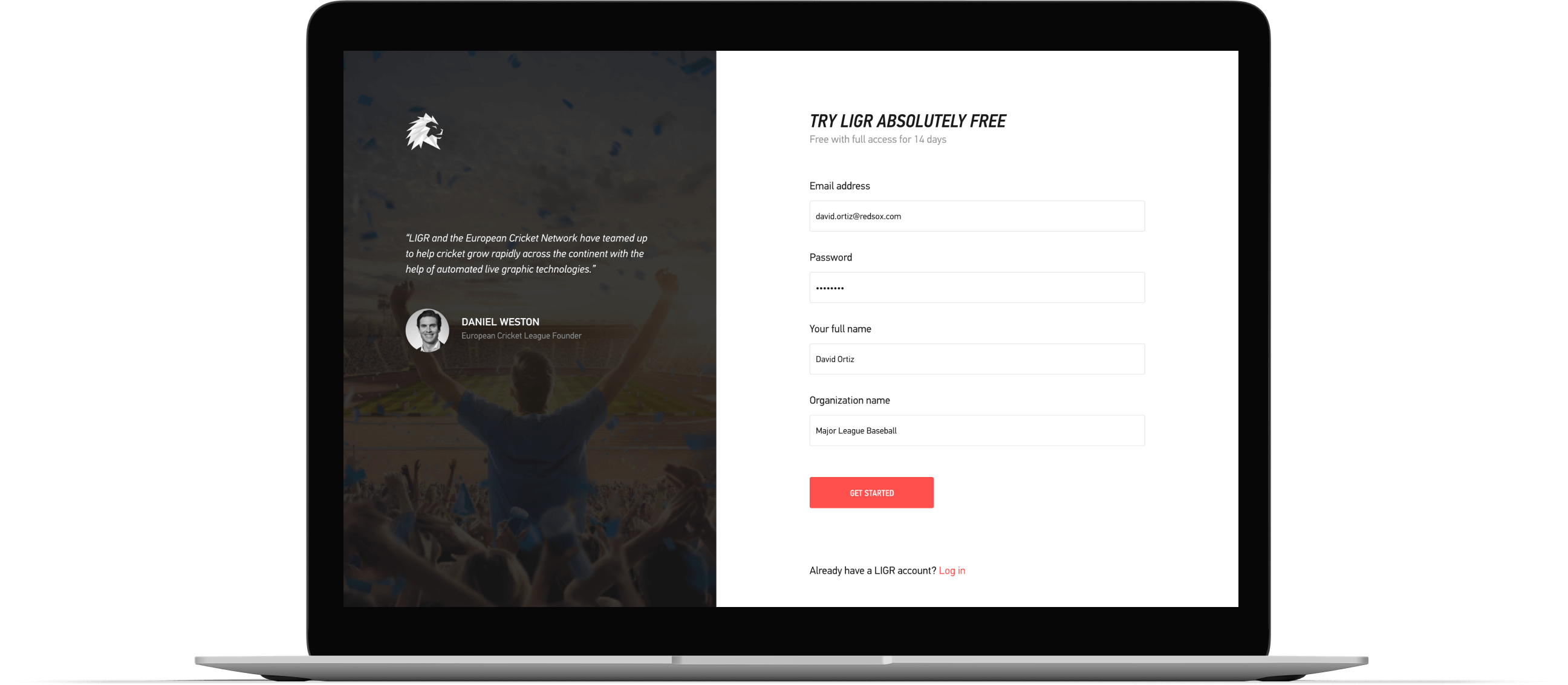 You are greeted with a stunning signup page - LIGR collects a few minor details and then you are on your way.