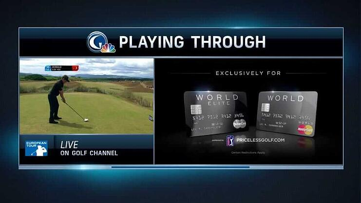 """A """"double box"""" ad from NBC Golf Channel that allows live coverage to continue during ad breaks."""