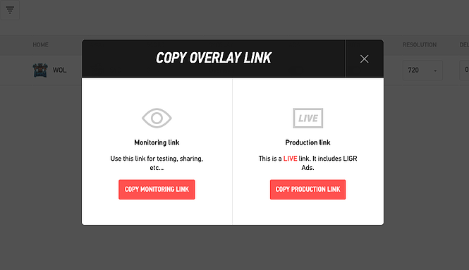 There are two overlay link types - one for monitoring or previewing your graphics and one that is used for your live production output.