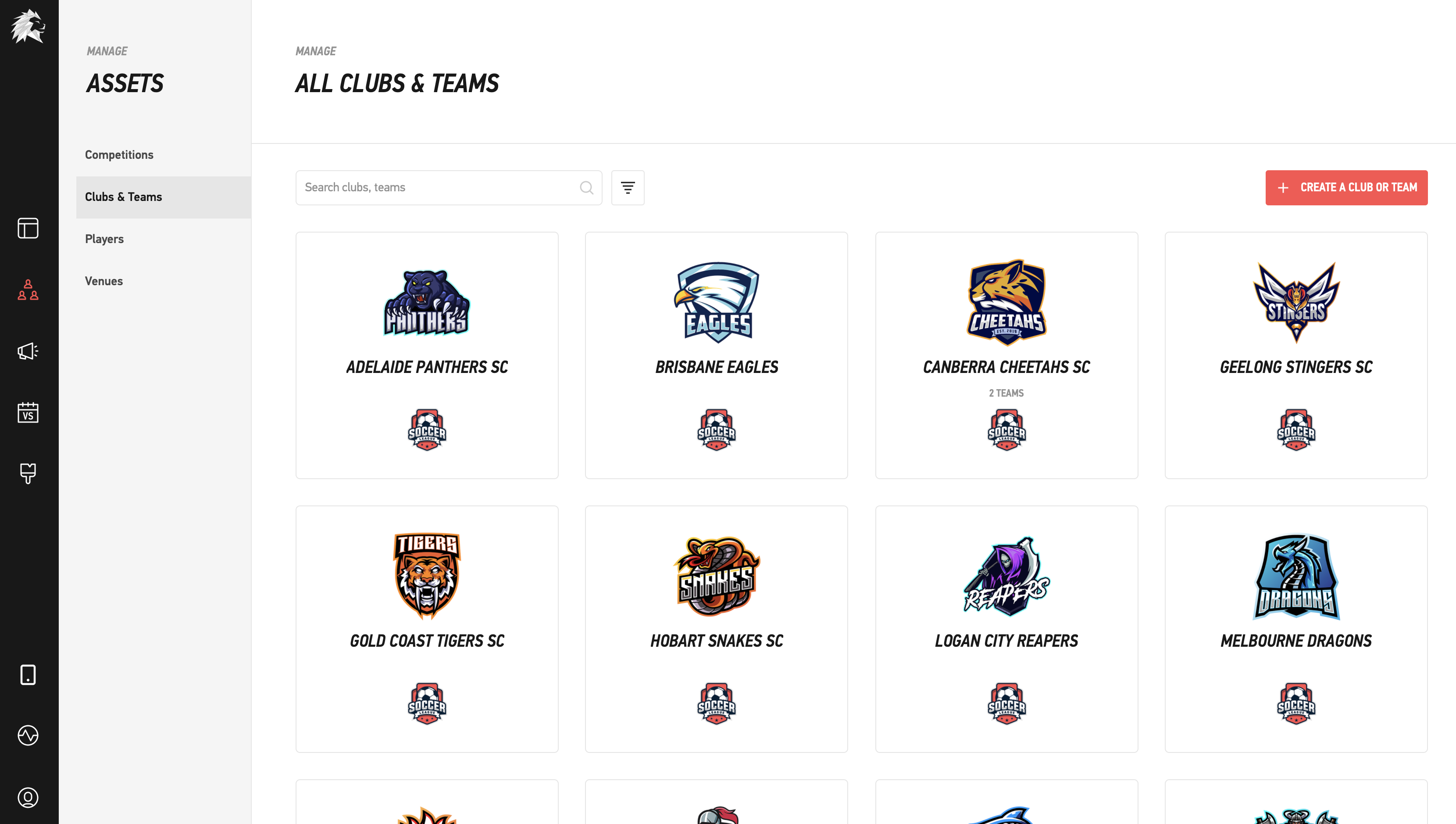 LIGR's user interface, showing clubs & teams.