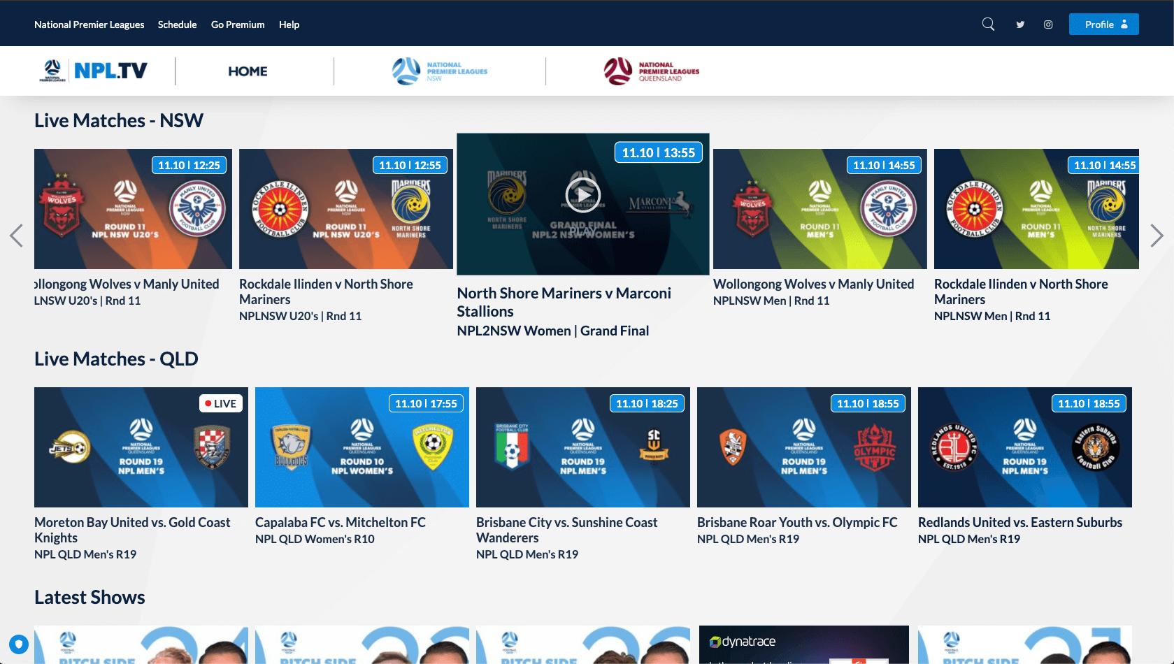 Football NSW's & QLD's OTT platform NPL.tv