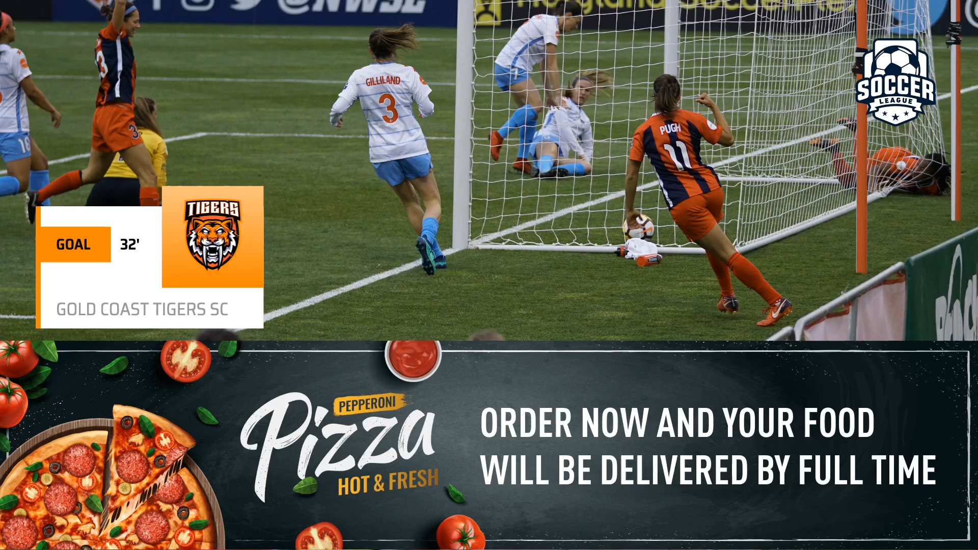 An example of an advertisement attached to a goal event graphic, powered by LIGR.Live.