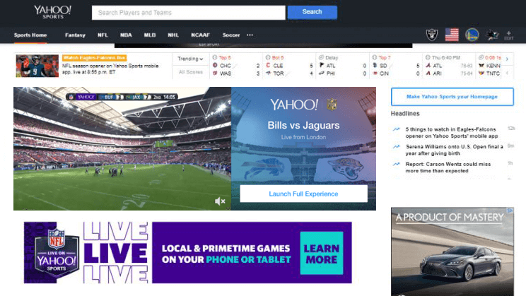 Clickable digital ads positioned around a Yahoo NFL live stream.